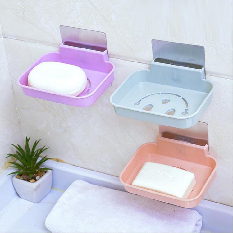 无痕贴笑脸肥皂盒 卫生间塑料可沥水香皂盒 创意粘贴式肥皂盒批发
