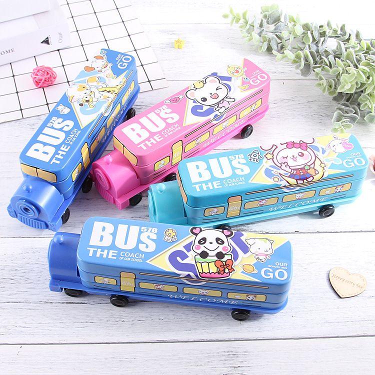 创意多功能火车头马口铁文具盒双层男女小学生儿童汽车铅笔盒
