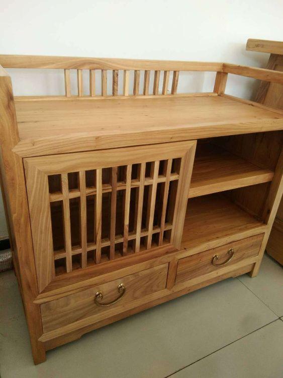 强盛老榆木家具  新中式免漆上蜡实木茶叶柜