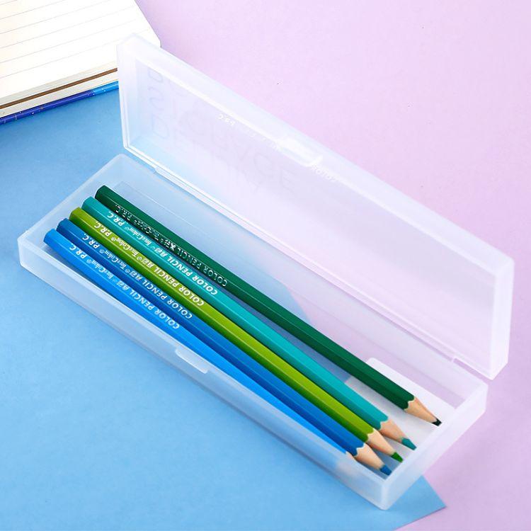 得力佳文具多色铅笔盒学生简约透明塑料文具盒创意纯色大容量笔盒