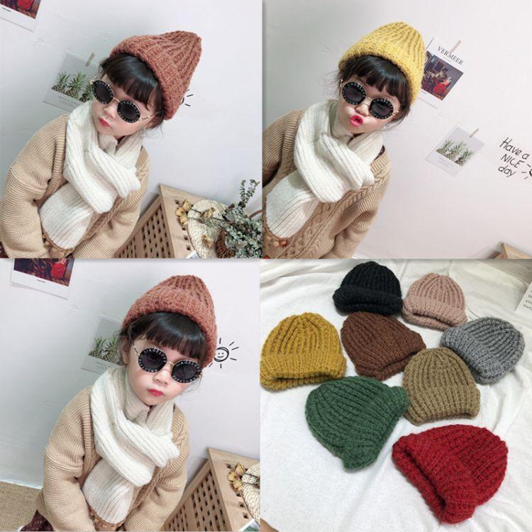 秋冬季新款儿童玉米粒针织毛线帽子宝宝保暖帽子批发