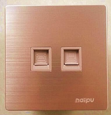 上海耐普N82系列铝合金拉丝金插座电话电脑插座 电话网络插座