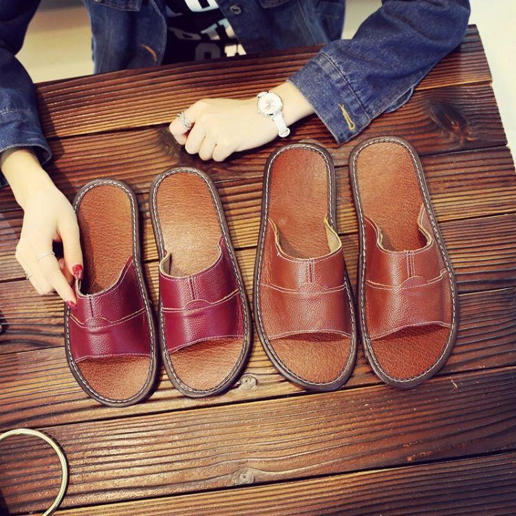 居家真牛皮拖鞋家居夏季室内情侣家用地板男女防滑防臭凉拖鞋夏天