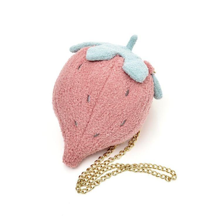 夏季草莓毛绒斜挎包 水果卡通菠萝仙人掌包单肩斜跨小包包时尚女