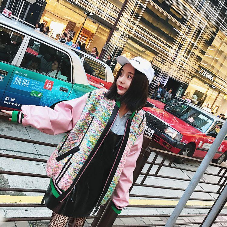 DEARHUA小花家好看炸少女心粉色棒球珍珠光泽冻龄皮衣外套E34潮