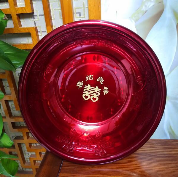 【厂家直销】新款婚庆不锈钢大反边浮雕加厚酒红面盆女方陪嫁