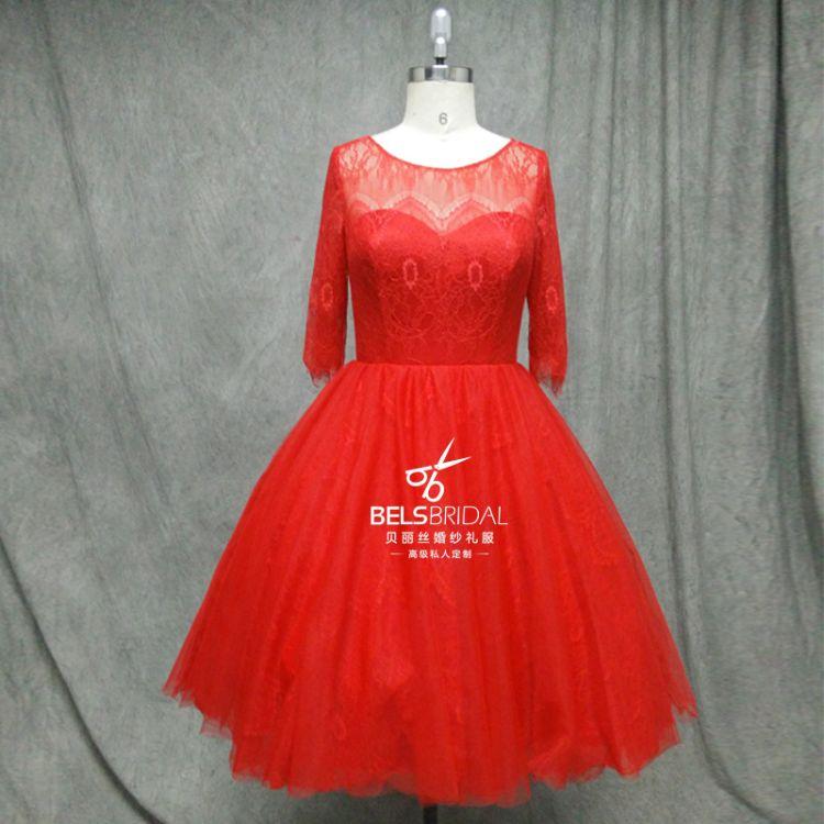 2016新款蕾丝短款七分袖收腰显瘦蓬裙时尚礼服伴娘服春夏秋