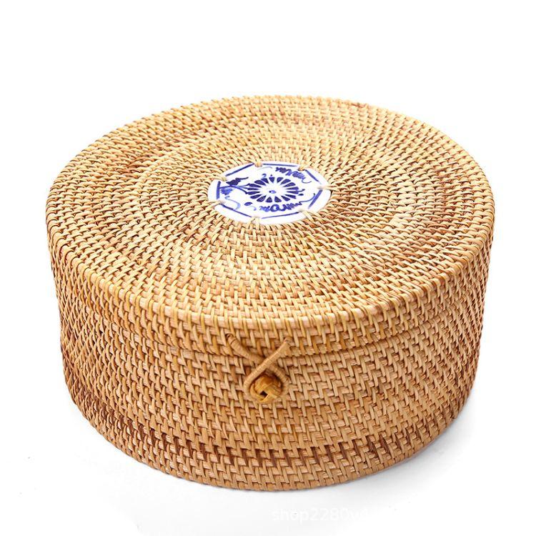 藤编圆柱篮大号普洱茶叶罐高档实木茶饼 小罐收纳包装盒 木制存茶箱