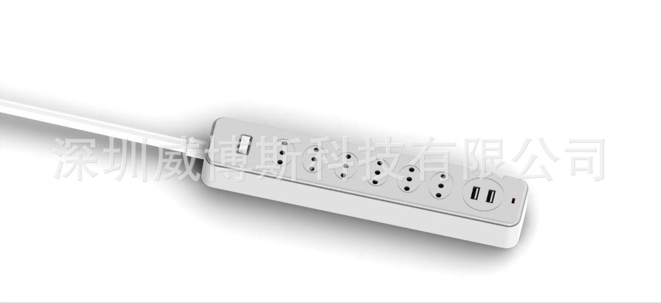 6口意大利规排插带USB手机充电输出口带开关防雷装置