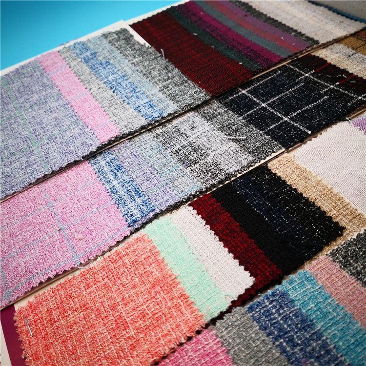 乱纹格子仿麻布 色织提花沙发布 混色印花色织服装面料