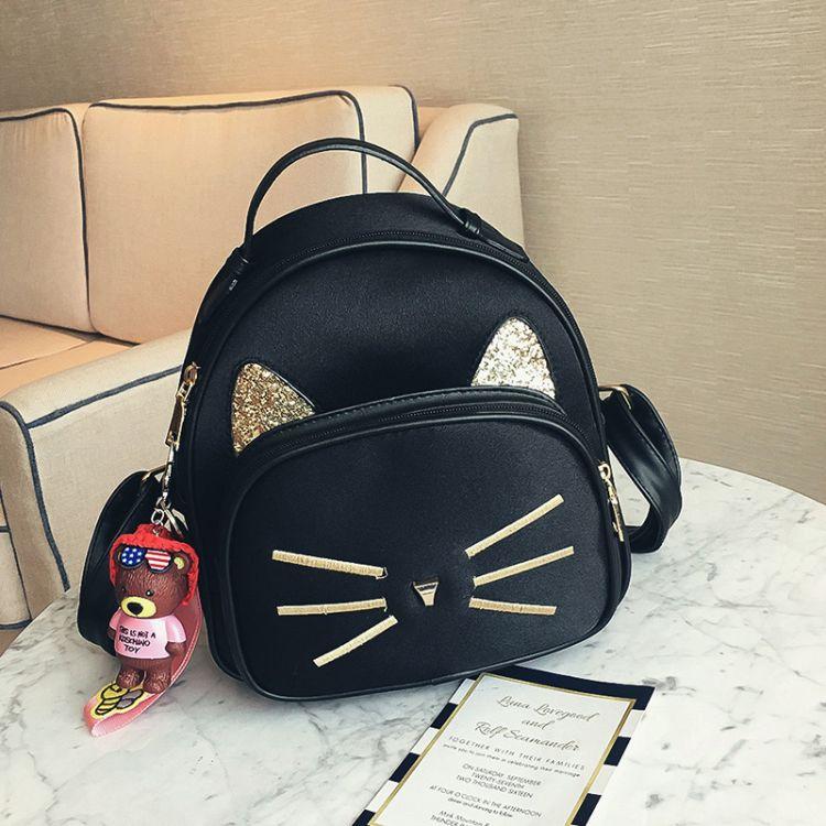 韩版2017新款丝绒猫咪胡子双肩包中学生书包时尚女包包一件代发
