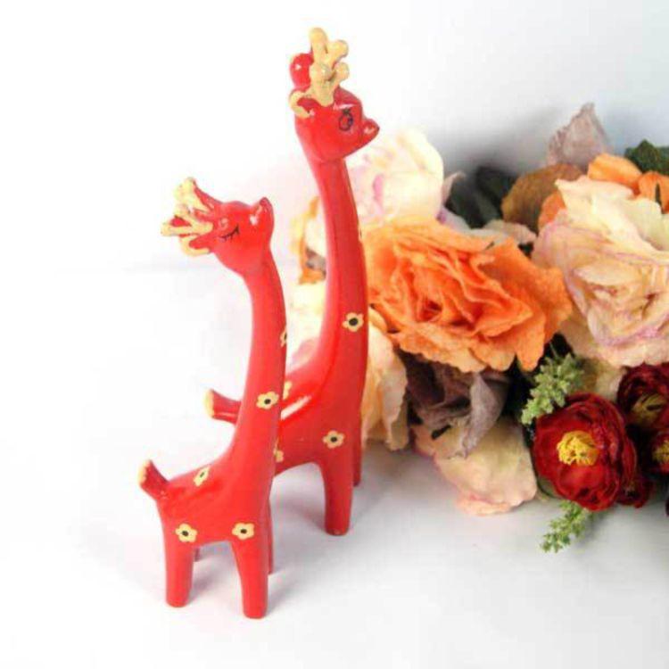 阿克曼木制长颈鹿 木雕动物摆件 木制工艺品 三色可选