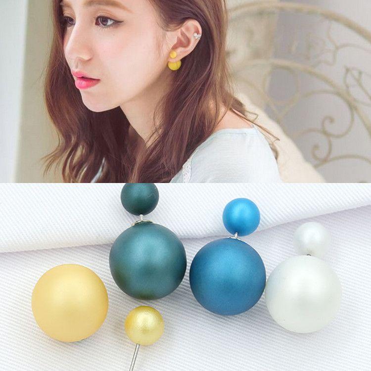 韩国代购进口女耳饰韩粉气质不对称珍珠耳钉大小磨砂球球双面耳钉