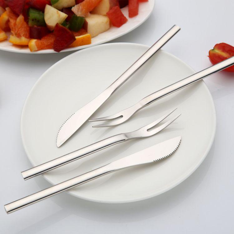 优百 不锈钢水果叉 小叉子 无蛋糕叉 时尚甜品叉 月饼刀叉厂家
