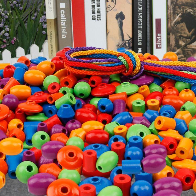 幼儿园亲子园木制108颗串珠训练穿珠子早教启蒙蒙氏宝宝玩具2-3岁