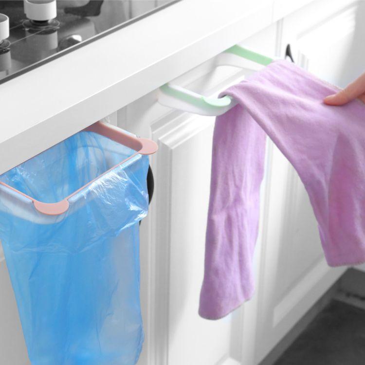 创意熊猫厨房门背式手提垃圾袋支架 家用橱柜门后抹布挂架垃圾架