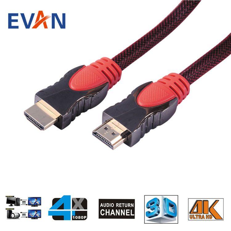 镀金2.0机顶盒金属壳高清转接线HDMI线4K*2K电视信号连接线