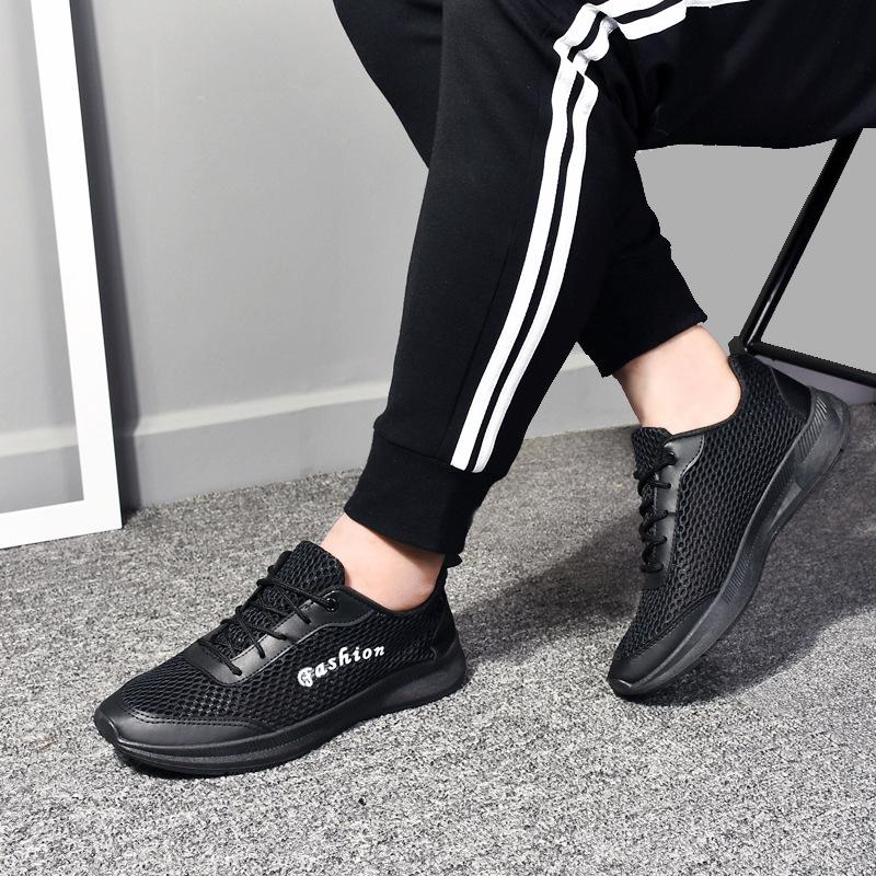 【加工定制】男士休闲鞋系带透气学生跑步鞋轻便耐磨运动网鞋批发