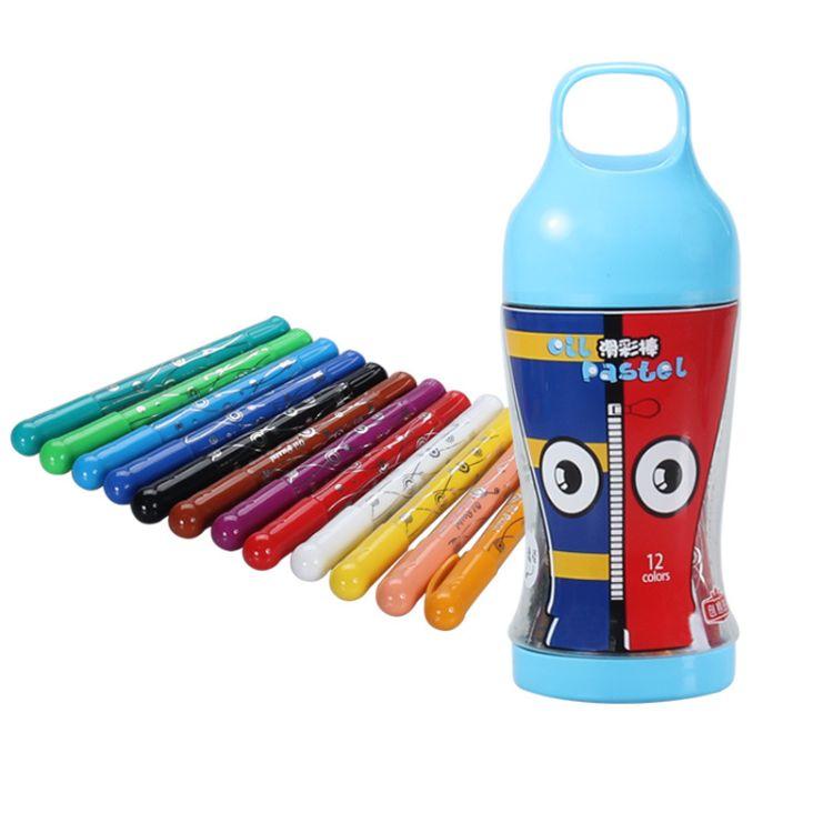 厂家批发12色油画棒儿童学生美术用品奖品可洗小学文具画笔套装