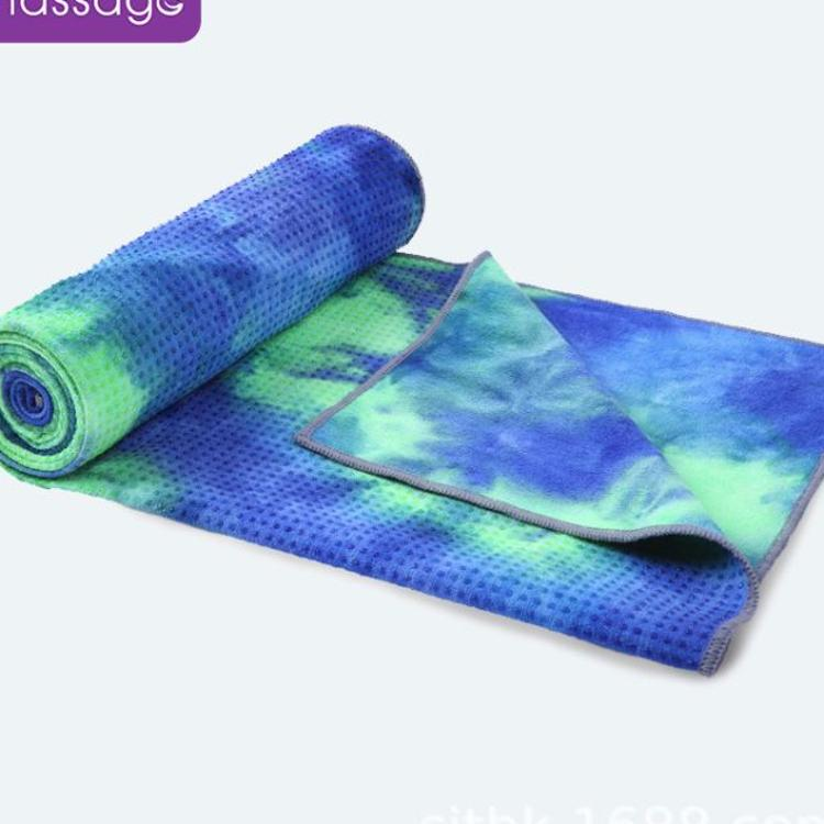 爱玛莎防滑瑜伽铺巾胶点防滑吸汗毛巾垫扎染印花可机洗瑜伽垫铺巾