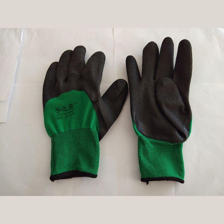 厂家直销PU涂掌防静电劳保手套工作手套耐磨浸胶防滑高弹性