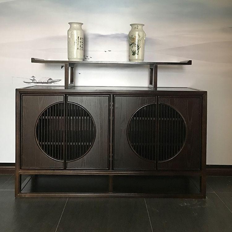 新中式条案现代简约禅意玄关桌 水曲柳实木玄关台案台 样板房家具