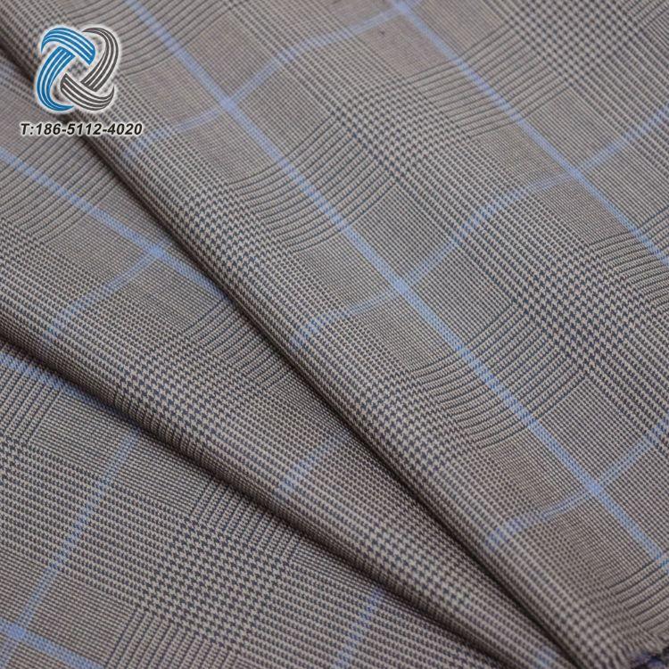 厂家直销 高端精纺呢绒毛涤格子西装毛料 羊毛格子面料 千鸟格
