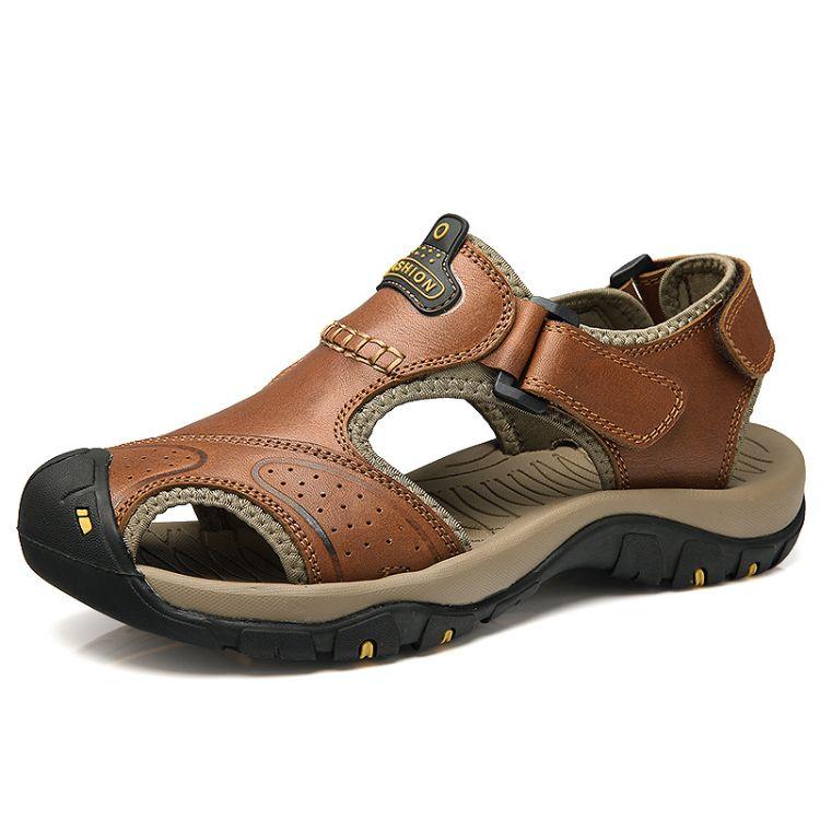 新款真皮凉鞋男透气男士休闲鞋夏季外贸原单沙滩牛皮镂空凉拖男鞋
