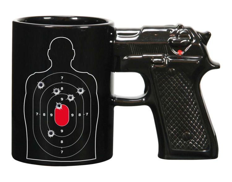 跨境热销 创意3D陶瓷手枪杯子 gun mug 枪柄杯 定制logo图案