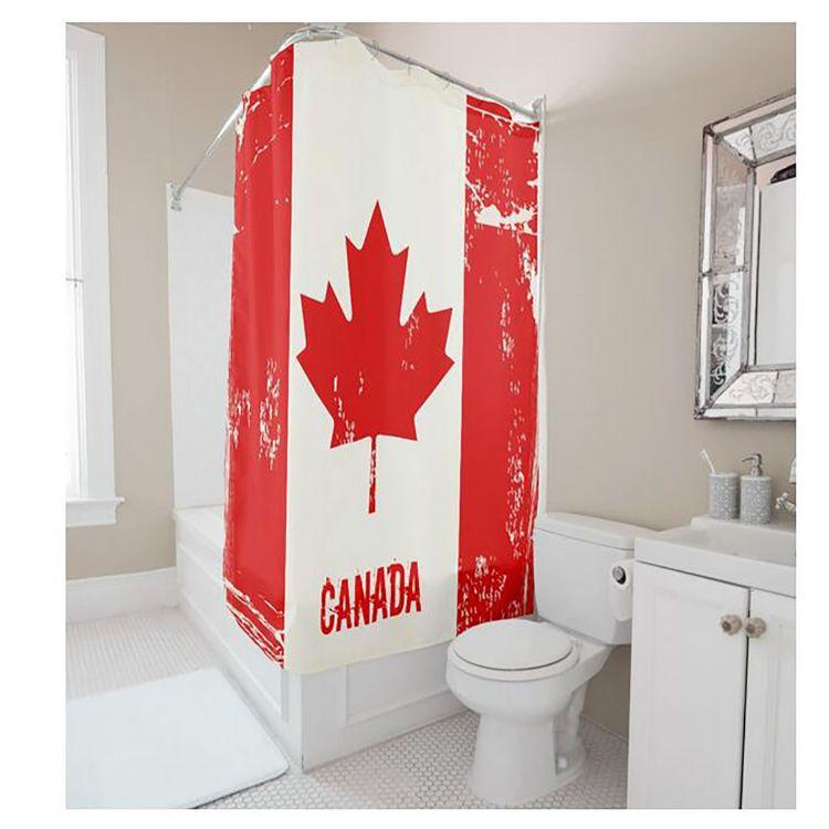 厂家直销 个性定制浴帘涤纶 加拿大国旗浴室挂帘隔断 防水印花