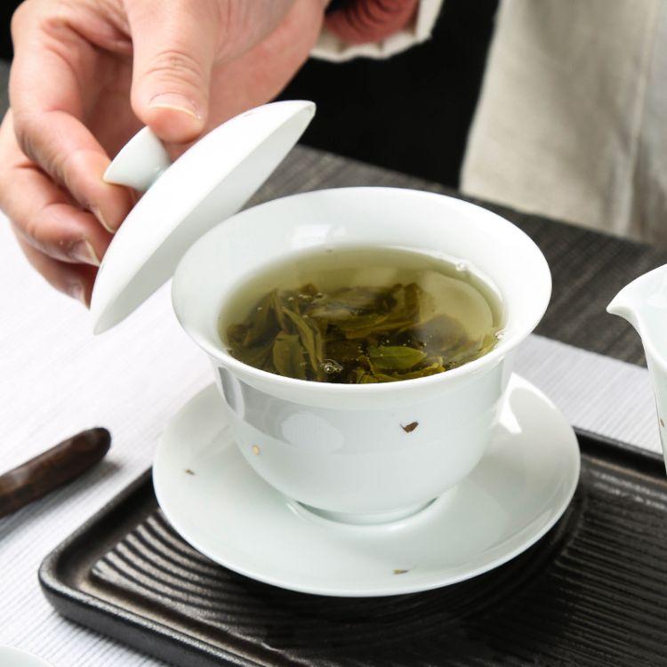 纯白描金德化白瓷三才盖碗大号手工陶瓷茶碗功夫泡茶杯 定制logo