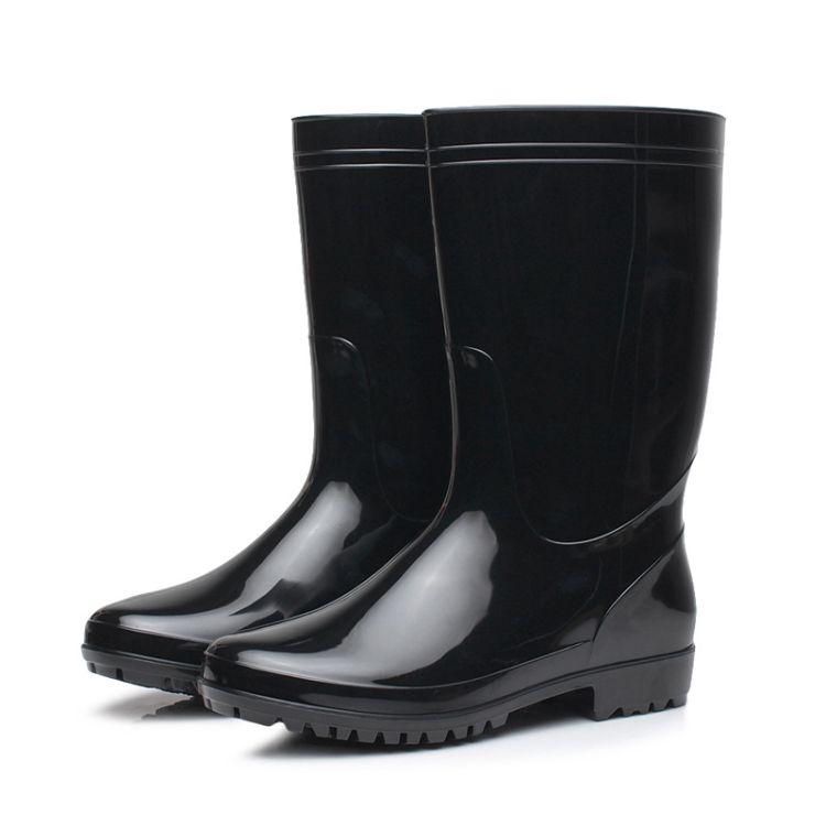 出口纯色中筒男士雨靴耐磨防滑雨鞋男中帮水靴钓鱼鞋洗车鞋现货