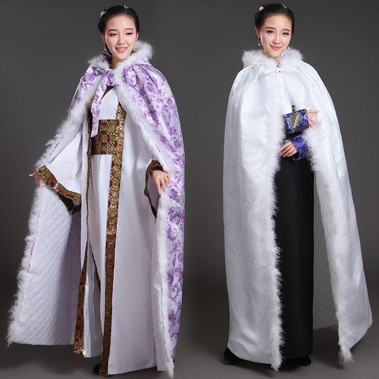 汉服斗篷女冬加绒加厚长款中国风公主古装外套古风汉元素披风服装