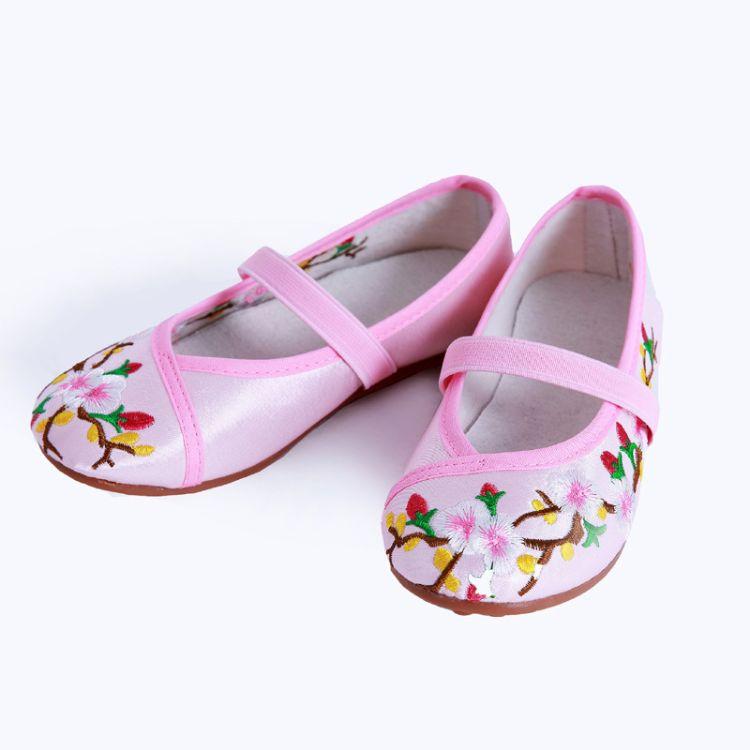 女童绣花鞋老北京布鞋古装汉服鞋青花瓷古筝演出鞋儿童民族舞蹈鞋