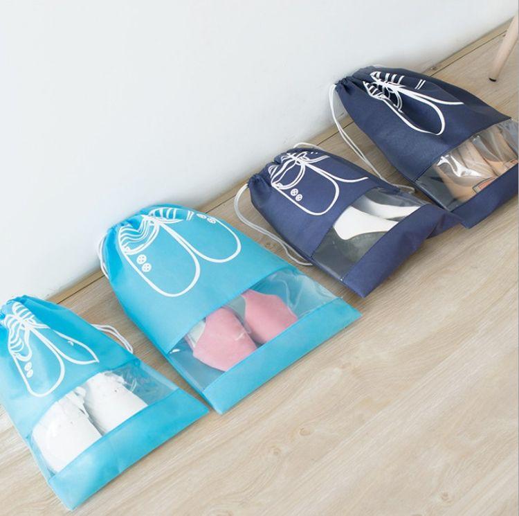 批发韩版旅行鞋子收纳袋 束口无纺布袋透明防尘袋鞋袋(10个装)