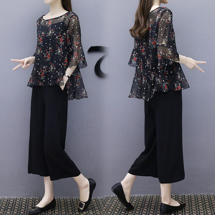 2018夏季大码女装新款吊带+印花雪纺衫+阔腿裤胖MM三件套时尚套装