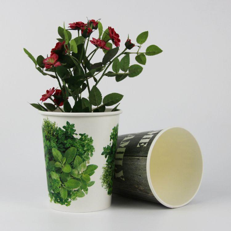 厂家定制批发 时尚美观加厚型双PE纸桶 一次性室内花卉盆栽纸桶