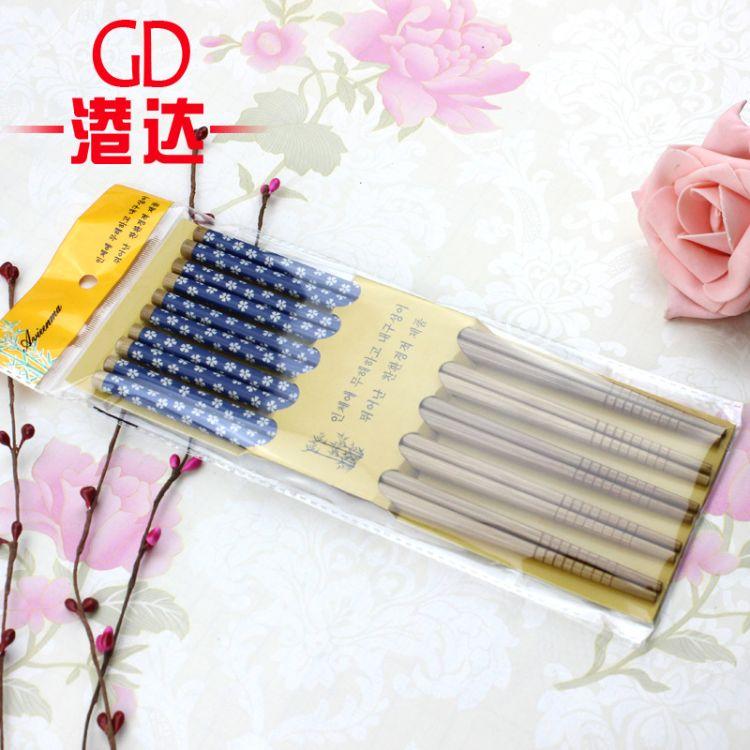五色小碎花创意餐具印花竹筷 筷子 特色日式套装环保艺术筷
