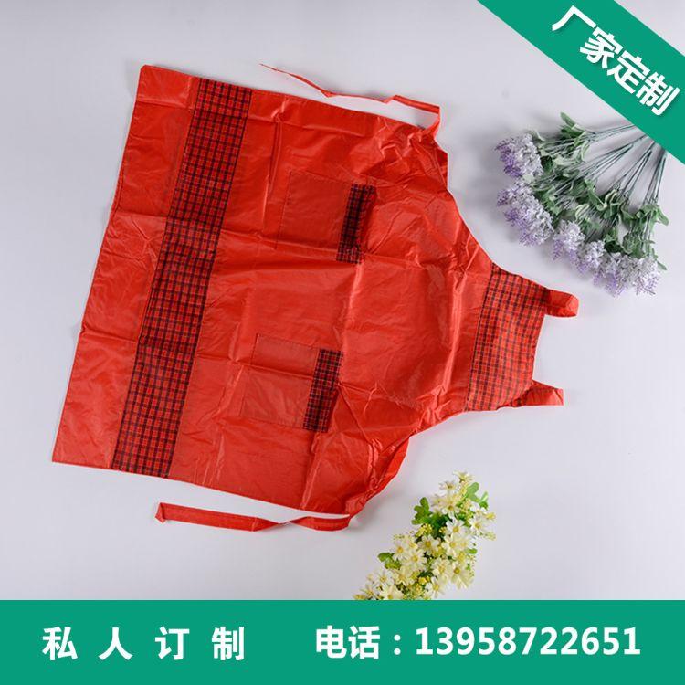 厂家定做 韩版制服围裙 纯棉广告围裙订制 田园防水防污挂脖围裙