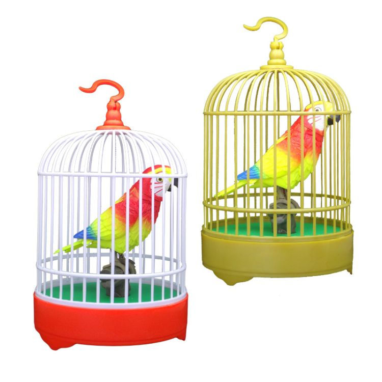 声控玩具鸟 声控触摸感应电动仿真鸟笼 仿真鹦鹉鸟笼灯光儿童玩具