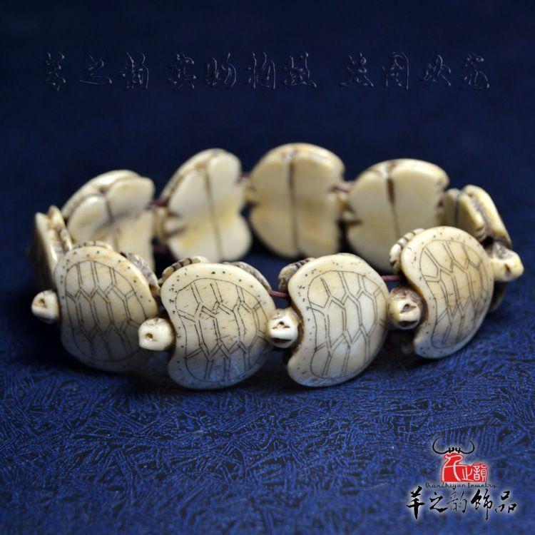 牦牛骨乌龟手链 古玩骨雕手串 民族风 真骨把玩小饰品 纯手工雕刻
