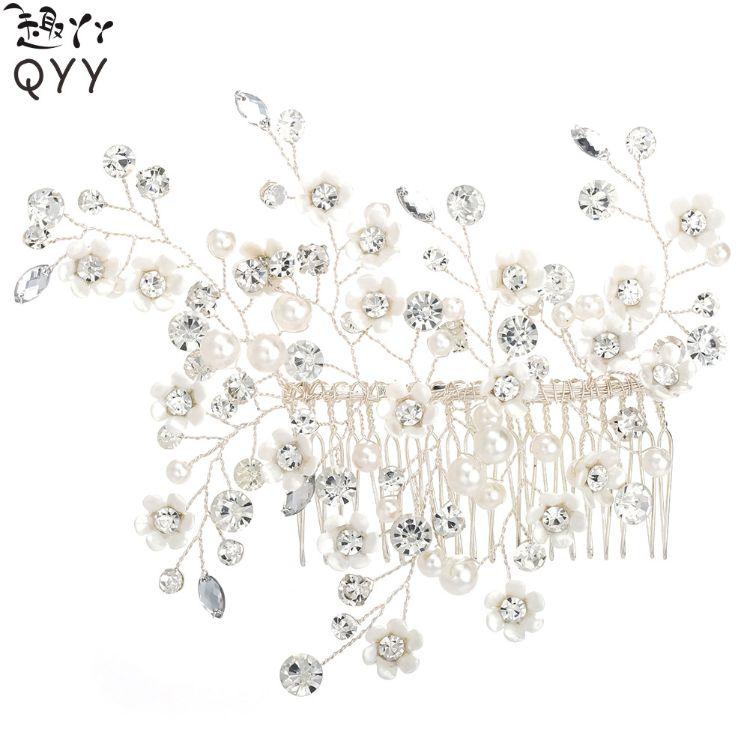热销欧美高端珍珠新娘饰品 手工编织水钻发梳 唯美仿真花朵头饰