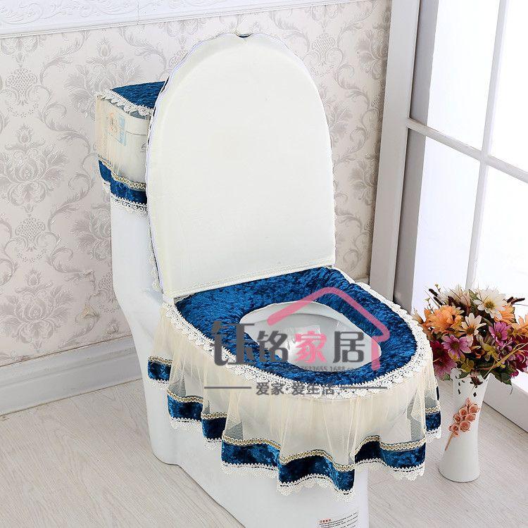 拉链式金丝绒坐便套套装三件套坐便器垫水箱罩马桶盖套马垫批发