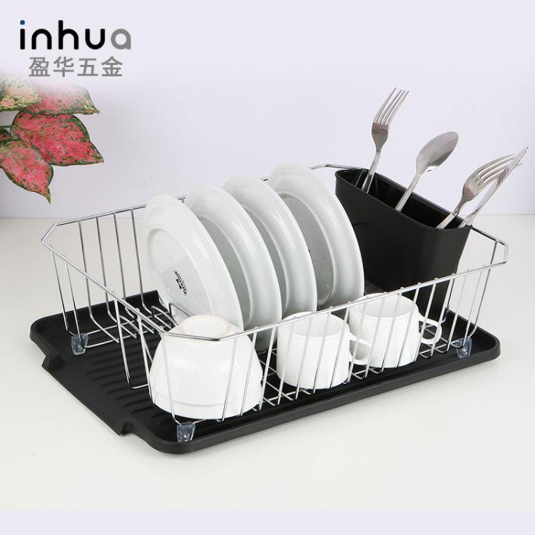 盈华五金 厂家直销铁艺沥水收纳架单层滤水碗碟置物架厨房碗碟收纳架黑色款