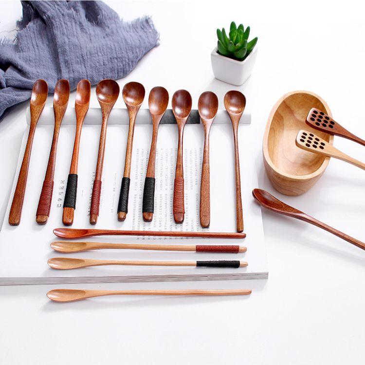 创意长柄咖啡伴勺 蜂蜜搅拌勺高端木质餐具实木小半勺批发 可刻字