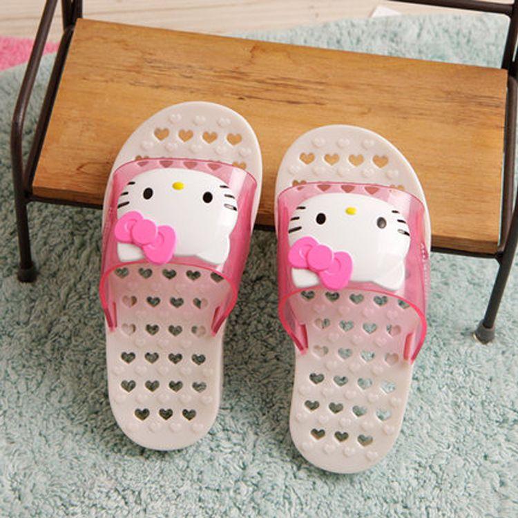 韩国进口HelloKitty凯蒂猫儿童浴室拖鞋 防滑漏水按摩保健4573