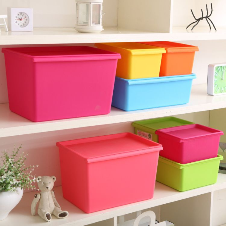 造级百货-收纳箱塑料小号装衣服玩具有盖杂物整理箱子衣物收纳盒加厚储物箱