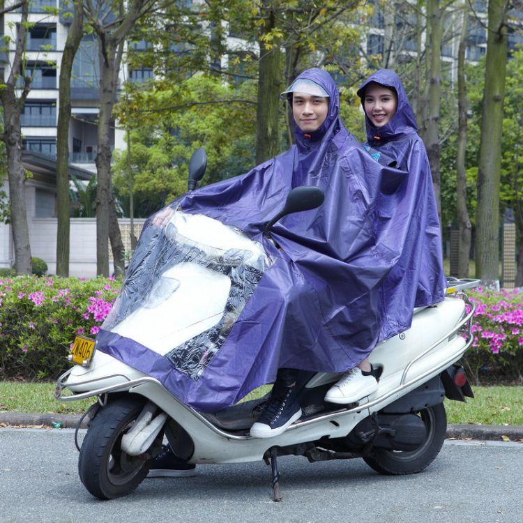 情侣提花布大帽檐电瓶车雨衣成人雨衣 加大帽檐摩托车连体雨衣