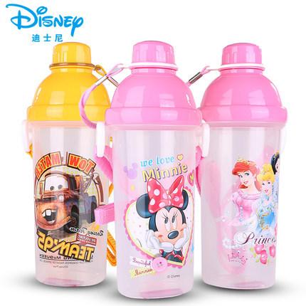 迪士尼卡通运动饮水杯 学生夏季便携防漏儿童双口茶杯塑料水壸