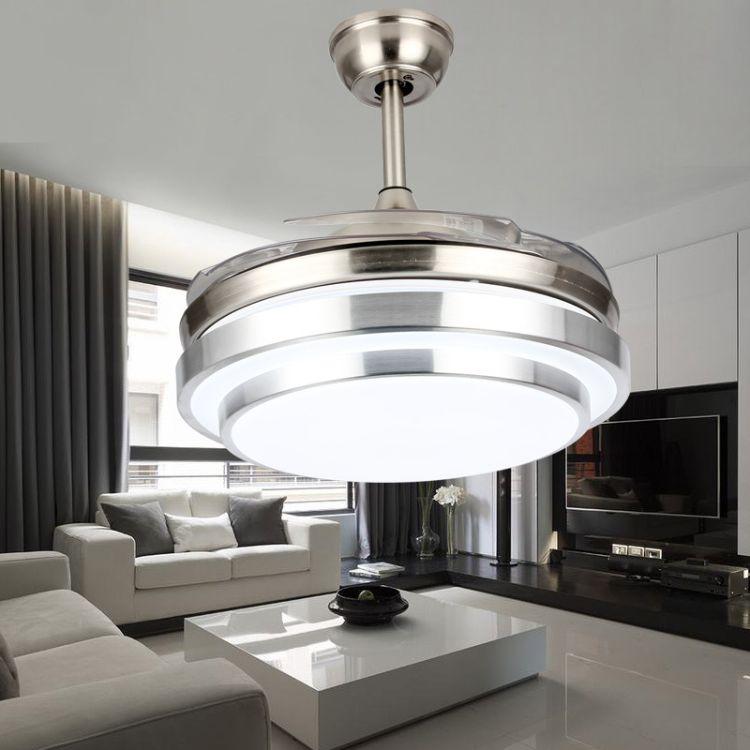 现代简约led隐形风扇灯 家居亚克力风扇吊灯客厅卧室餐厅吊扇灯